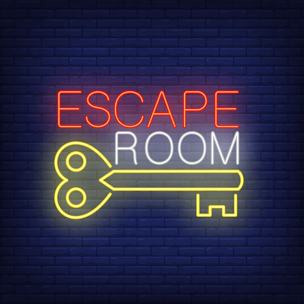 Escape room neon sign. Vintage key and text on brick wall background. Glowing banner or billboard elements. Vector illustration in neon style for topics like quest, escape room, game